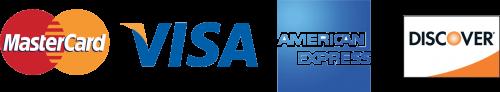 Visa, Mastercard, American Express , Discover card logo